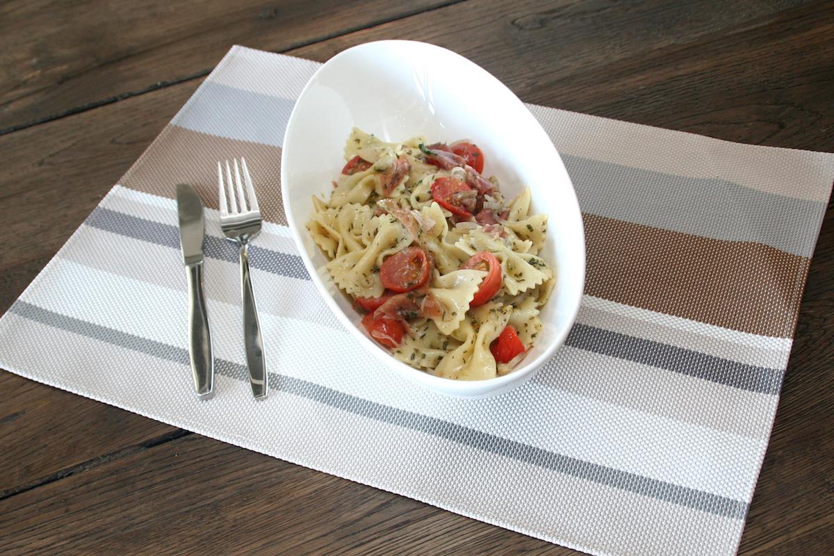 Pesto pasta met serranoham kopie